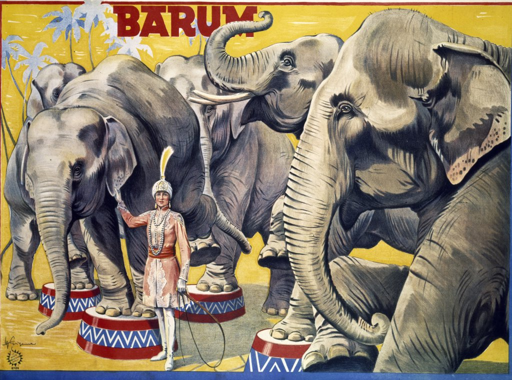 Circus Barum (Margarete Kresier and Her Elephants) by Wilhelm Eigner,  poster,  color lithograph,  1931 : Stock Photo