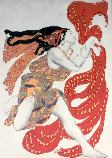 Stock Photo: 463-6833 Bacchante,  costume design for Narcisse ballet by Sergej Diaghilew by Leon Bakst,  1866-1924 Russian,  charcoal and gouche,  Paris,  Centre Georges Pompidou,  Musee National d' Art Moderne,  1911