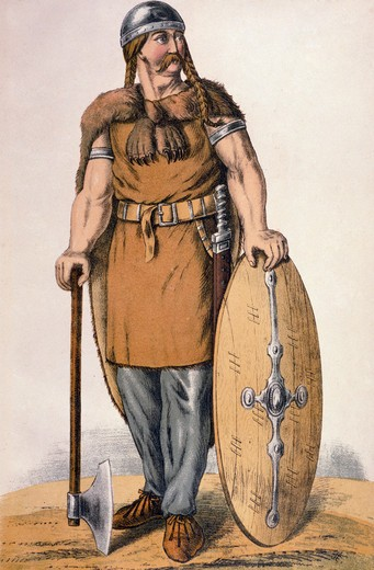 Langobard warrior,  color lithograph,  Germany,  Berlin,  Archiv fur Kunst und Geschichte,  circa 1880 : Stock Photo