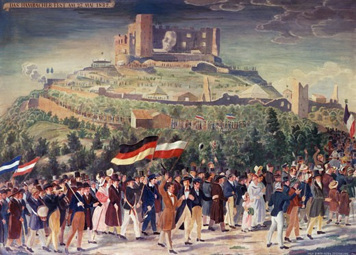 Stock Photo: 463-6976 The Festival Of Hambach On May 27, 1832 Aquarrel von Bohn (19th C. German) Watercolor German Historical Museum, Berlin, Germany