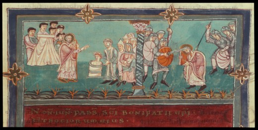 Stock Photo: 463-6987 Apostle of the Germans- Christening of Teutons and Martyr Death of Boniface at Dokkum 6 5 754 975 CE Manuscripts University of Library, Gottingen