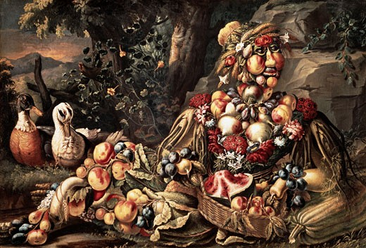 Stock Photo: 463-7000 The Summer Giuseppe Arcimboldi (1527-1593 Italian) Oil On Canvas Pinacoteca Tosio Martinengo, Brescia, Italy