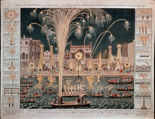 Stock Photo: 463-7045 View of Fireworks and Illumination, Arranged by The Duke of Richmond in Whitehall & on the Thames
