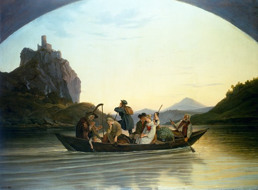 Crossing of the River Elve at the Rock of Terror at Aussig,  Ludwig Richter,  oil on canvas,  Germany,  Dresden,  Staatliche Kunstsammlungen,  Galerie Neue Meister,  1837 : Stock Photo