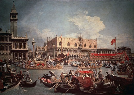 Stock Photo: 463-7084 The Return of the Bucentaur (Towing in of the Ship of the Venetian Doge on the Canale Grande) Canaletto (1697-1768 Italian) Oil on Canvas Aldo Crespi Collection, Milan, Italy