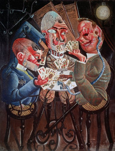 Stock Photo: 463-7106 Disabled War Veterans Playing Cards S.D.1920 Otto Dix (1891-1969 German) Oil On Canvas Private Collection, Konstanz, Germany