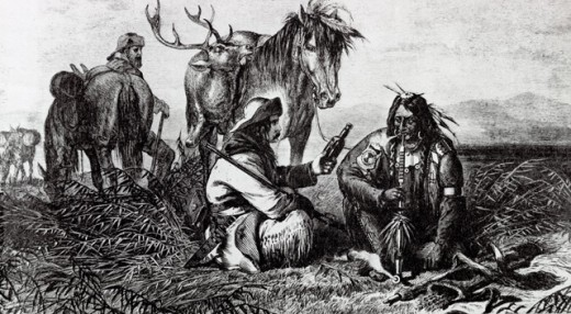 Stock Photo: 463-7124 Barter with the Indians Fur Traders Exchange Whiskey for Fur American History