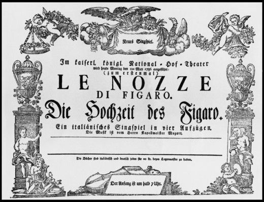 Stock Photo: 463-7136 Marriage of Figaro, Theatre Ad for the Premiere of The Play by Mozart at the Burgtheater in Vienna