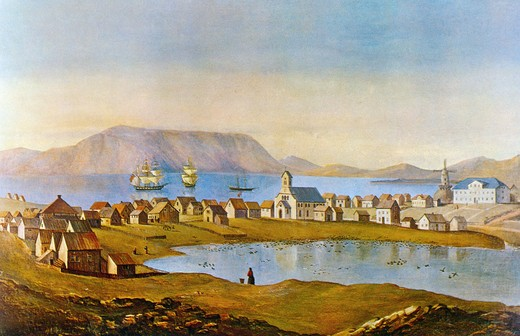 Stock Photo: 463-7361 Reykjavik,  Capital City of Iceland in 1862,  by Arthur W. Fowles,  1815-1883 British,  1862
