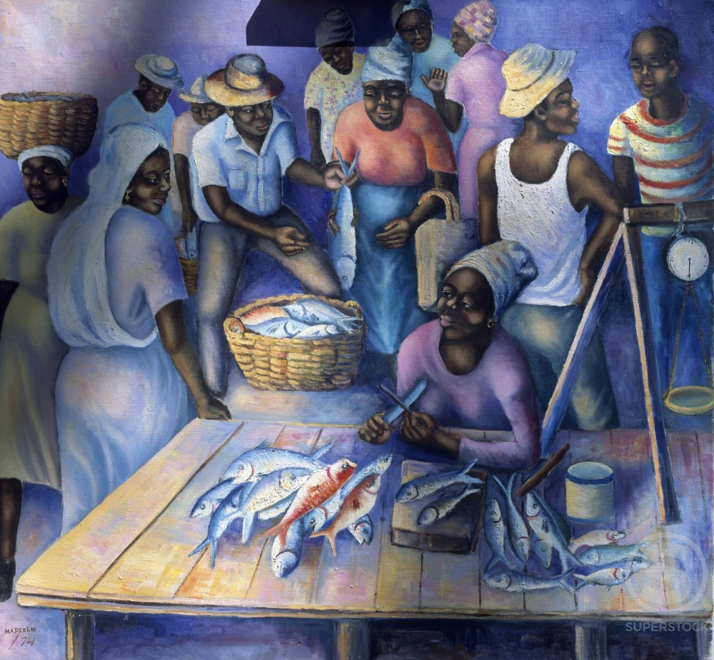 Fish Market on Isle of Trinidad by Marcelio,  oil on canvas,  1974 : Stock Photo