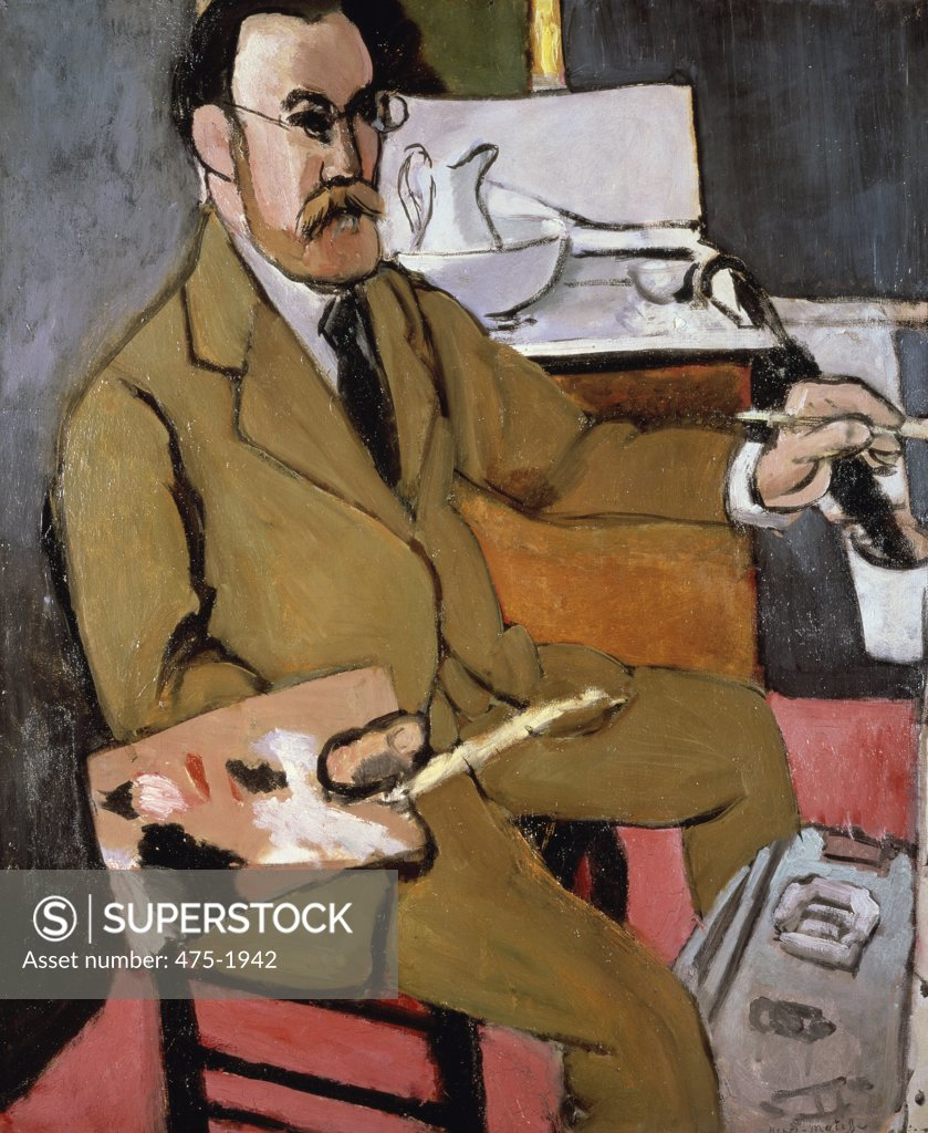 Stock Photo: 475-1942 Self Portrait 1918 Henri Matisse (1869-1954 French) Oil on canvas Musee Matisse, Nice, France