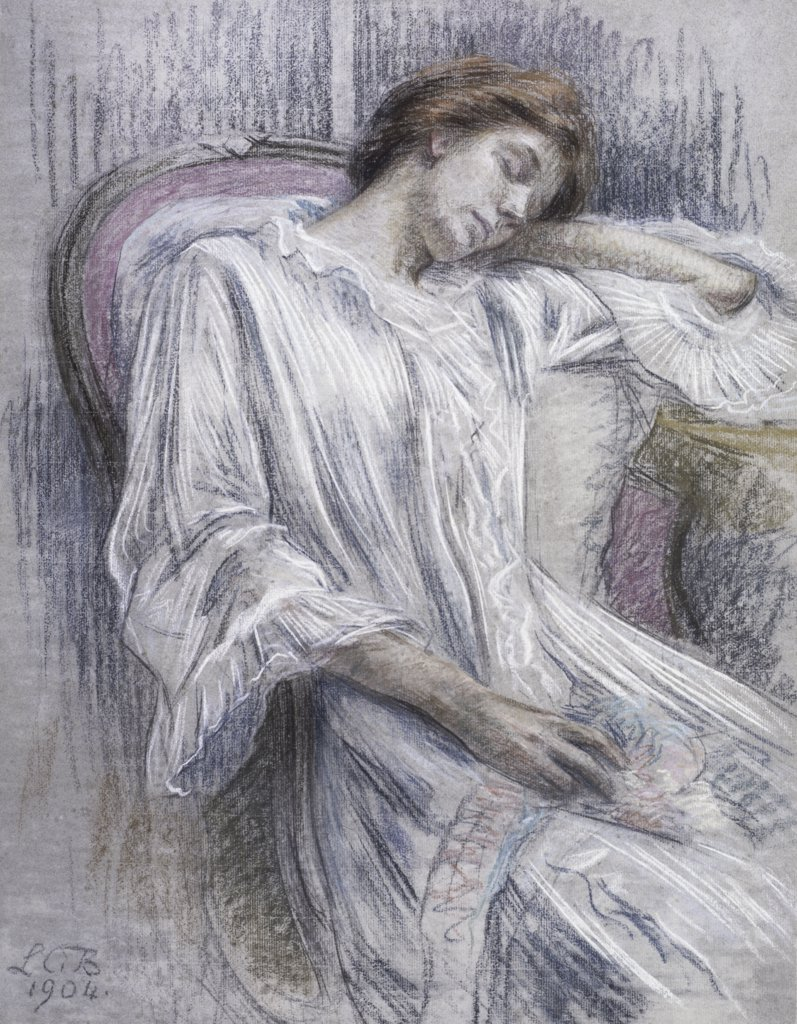 Stock Photo: 475-1021 Young Woman Asleep in a Chair 