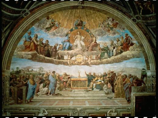 La Disputa (Disputation Of The Holy Sacrament)  1510-11 Raphael (1483-1520 Italian) Fresco Stanza della Segnatura, Palazzi Pontifici, Vatican City : Stock Photo
