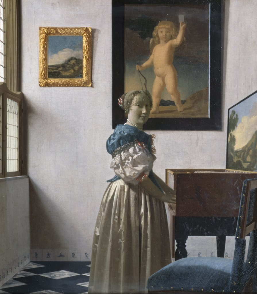 Stock Photo: 475-1058 Young Woman Standing at a Virginal ca.1670 Jan Vermeer (1632-1675 Dutch) Oil on canvas National Gallery, London, England