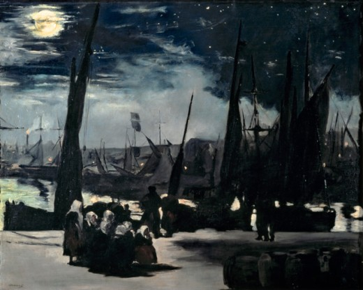 Moonlight on the Boulogne Harbour  1869 Edouard Manet (1832-1883 French) Oil on canvas Musee d'Orsay, Paris, France : Stock Photo