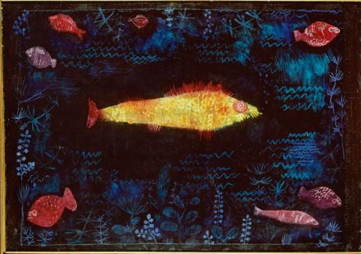 The Golden Fish 1925 Paul Klee  (1879-1940/Swiss) Watercolor Kunsthalle, Hamburg, Germany  : Stock Photo