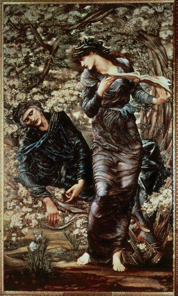 Stock Photo: 475-1442 The Beguiling of Merlin: Merlin & Vivien 1870-74 Edward Burne-Jones (1833-1898 British) Oil on canvas Lady Lever Gallery, Port Sunlight, England