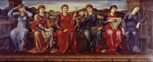 The Hours 1882 Edward Burne-Jones (1833-1898 British) Oil on canvas Sheffield City Art Galleries, England  : Stock Photo