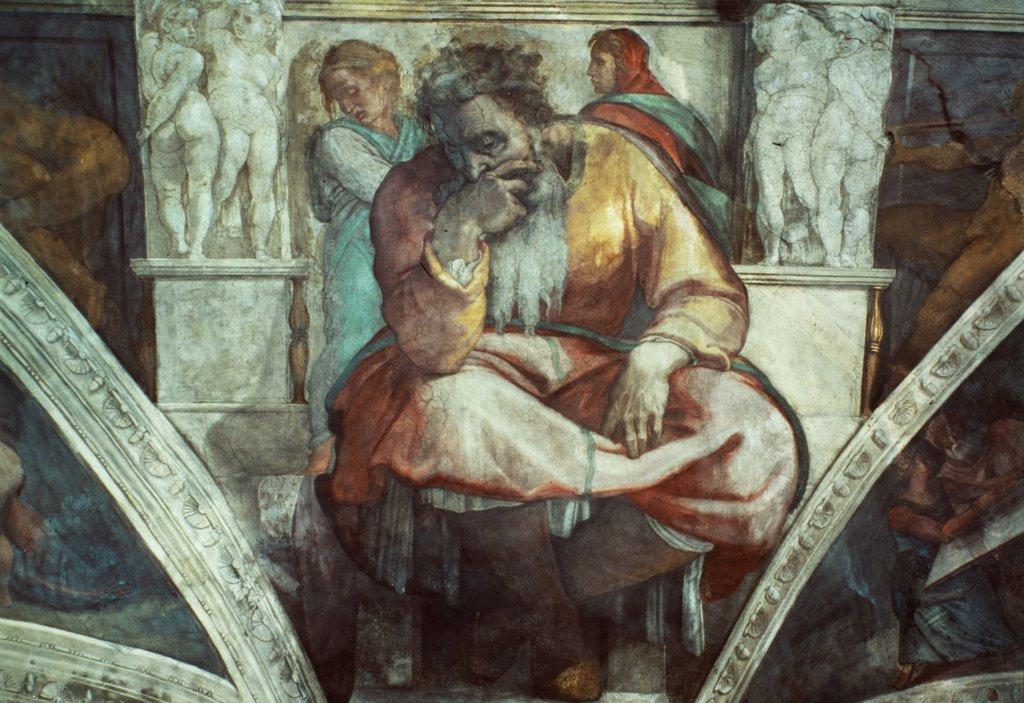 Stock Photo: 475-1570 Prophet Jeremiah, From the Sistine Chapel
