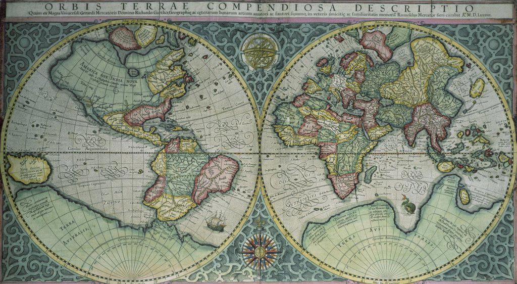 Stock Photo: 475-1587 Map of the World ca.1595 Gerardus Mercator (1512-1594/Netherlandish) British Library, London