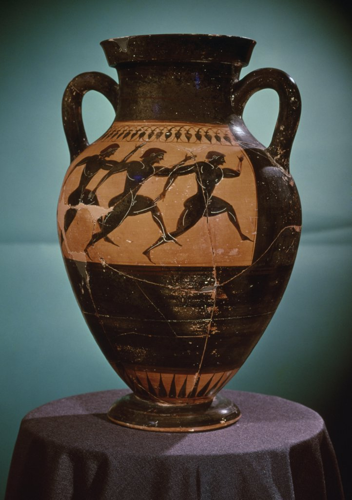 Stock Photo: 475-1593 Amphora with Black Figures Runners in a Race