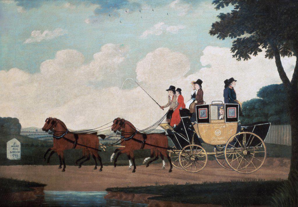 Stock Photo: 475-1610 The Royal Mail Coach, London To Birmingham 18th Century John Cordrey (18th C- British) King Street Galleries, London, England