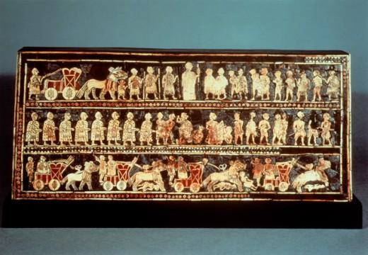"Royal Standard of Ur (""War"" side) 2750 BCE Mosaic British Museum, London : Stock Photo"