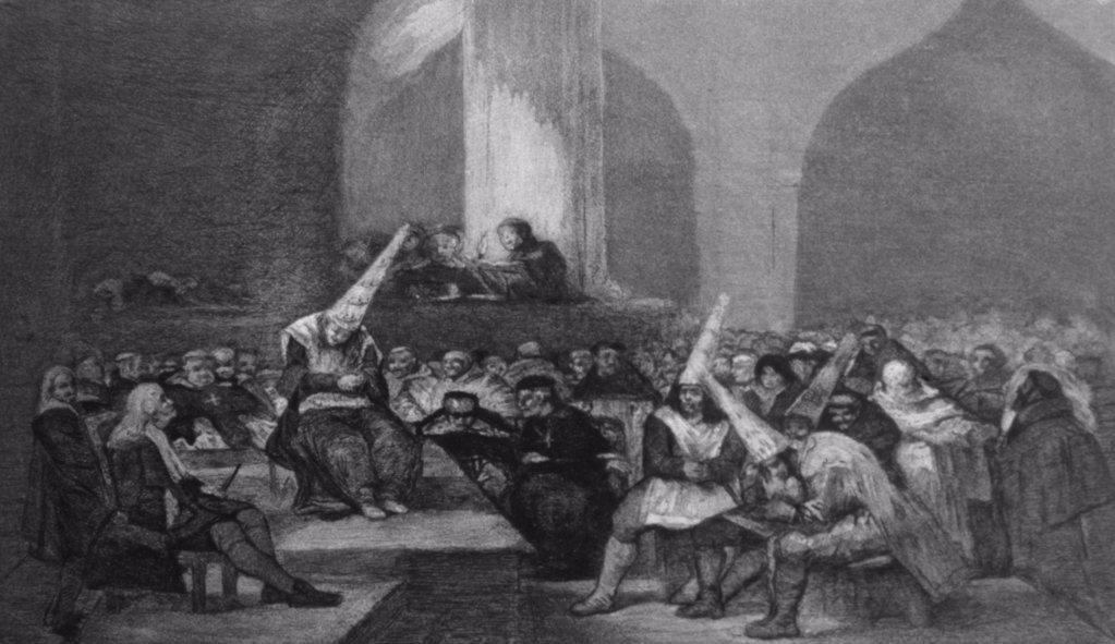 Stock Photo: 475-1624 Court of The Inquisition Francisco Goya y Lucientes (1746-1828/Spanish) Engraving Real Academia De Bellas Artes De San Fernando