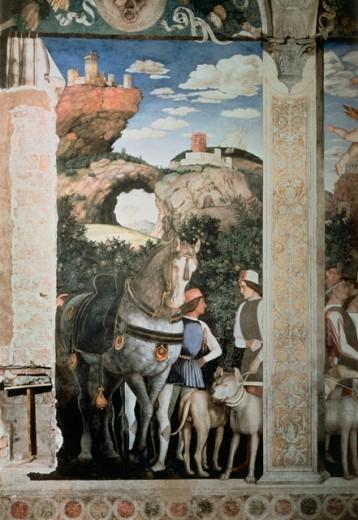 Camera Degli Sposi: Grooms, Horses & Dogs Resting  Mantegna, Andrea(1431-1506 Italian) Fresco Palazzo Ducale, Mantua, Italy  : Stock Photo