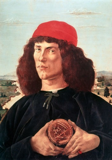 Portrait of a Man Holding a Medallion of Cosimo de'Medici ca. 1475 Sandro Botticelli (1444-1510 Italian) Galleria degli Uffizi, Florence, Italy  : Stock Photo