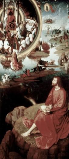 Saint John the Evangelist at Patmos 1474-79 Hans Memling (ca. 1433-1494 Netherlandish) Oil on wood panel Memling Museum, Brugge, Belgium : Stock Photo