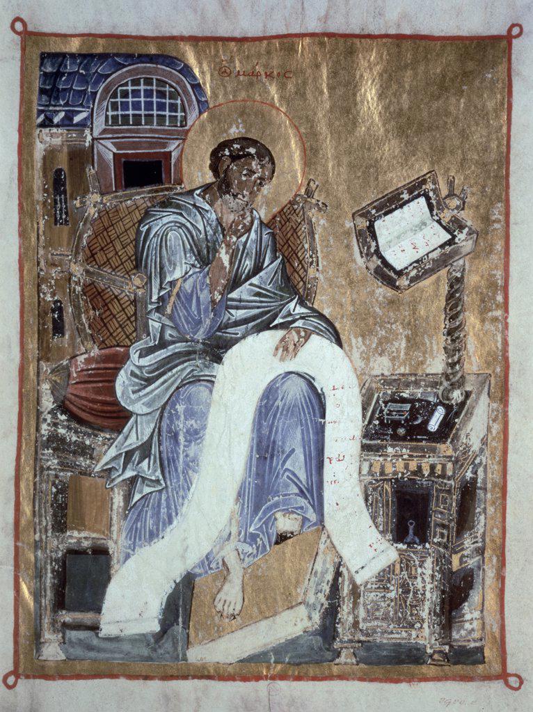 Stock Photo: 475-1794 Saint Mark Writing In His Gospel, Byzantine Psalter  13th C. Illuminated Manuscript Victoria & Albert Museum, London, England