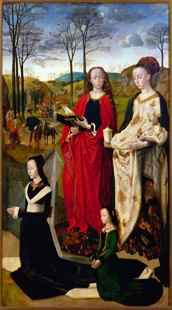 Stock Photo: 475-1944 Portinari Triptych: St. Mary Magdalen & St. Margaret With Maria Baroncelli & Daughter