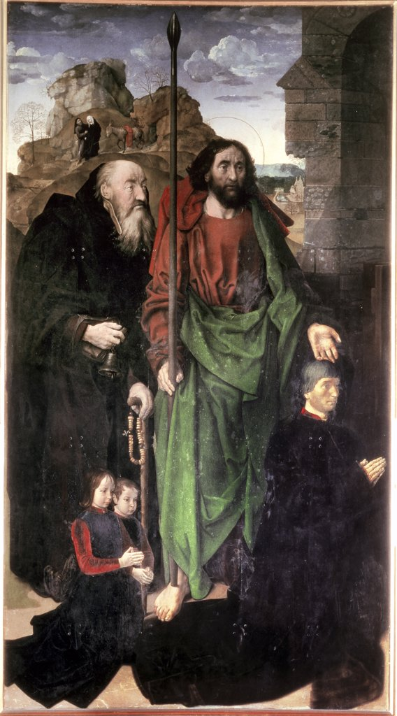 Stock Photo: 475-1946 Portinari Triptych (left panel) St. Thomas & St. Anthony Abbot with Tommaso Portinari & His Children