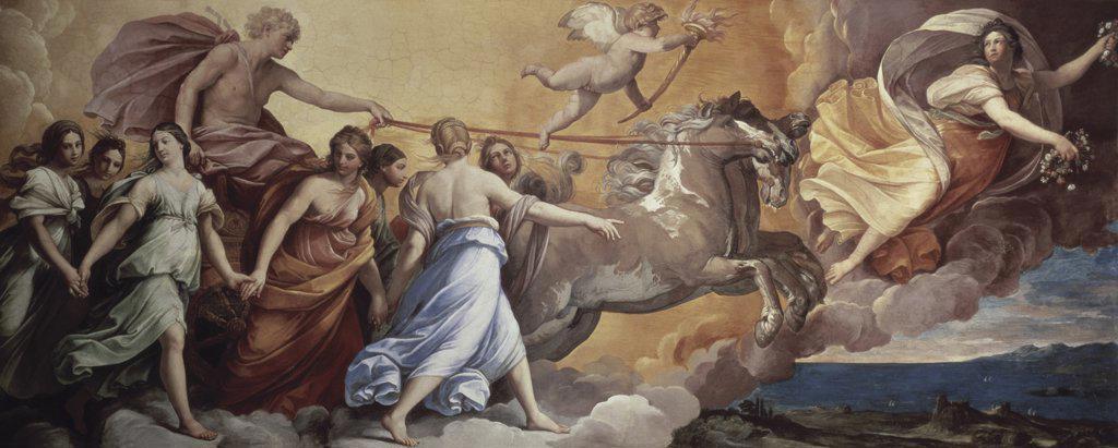 Stock Photo: 475-1949 Aurora 1613 Guido Reni (1575-1642 Italian) Fresco Casino Pallavicini-Rospigliosi, Rome, Italy