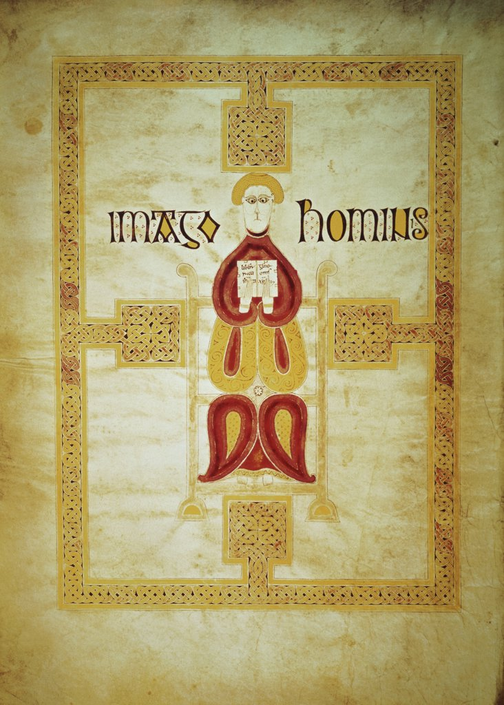 Stock Photo: 475-2036 Symbol of Matthew, 'Imago Hominus' from the Echternach Gospels, (Gospels of St. Willibrord) c. 8th Century Manuscripts Bibliotheque Nationale, Paris