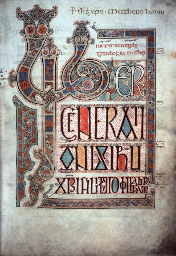 Stock Photo: 475-2039 Lindisfarne Gospels: Decorated Initial to the Gospel According to St. Matthew  ca. 725  Manuscripts  British Museum, London
