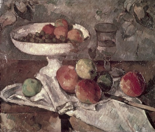 Still Life with Glass, Fruit and Knife Paul Cezanne (1839-1906 French) Private Collection : Stock Photo
