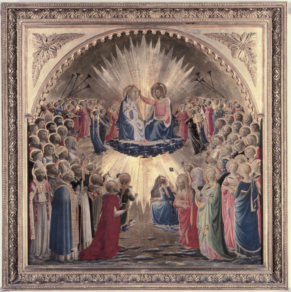 Coronation of the Virgin  1440 Fra Angelico (ca.1395-1455 Italian) Tempera on board Galleria degli Uffizi, Florence, Italy : Stock Photo