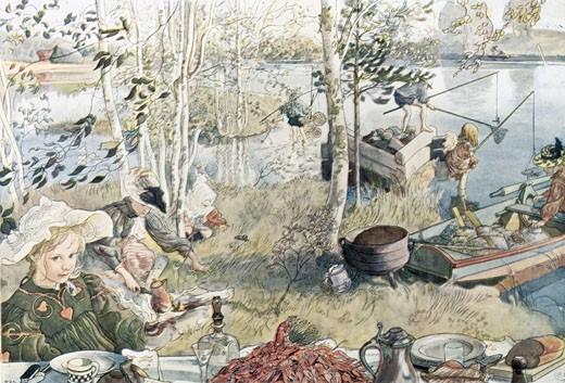 Picnic by the Lake 1899 Carl Larsson (1855-1919 Swedish) Stapleton Collection  : Stock Photo