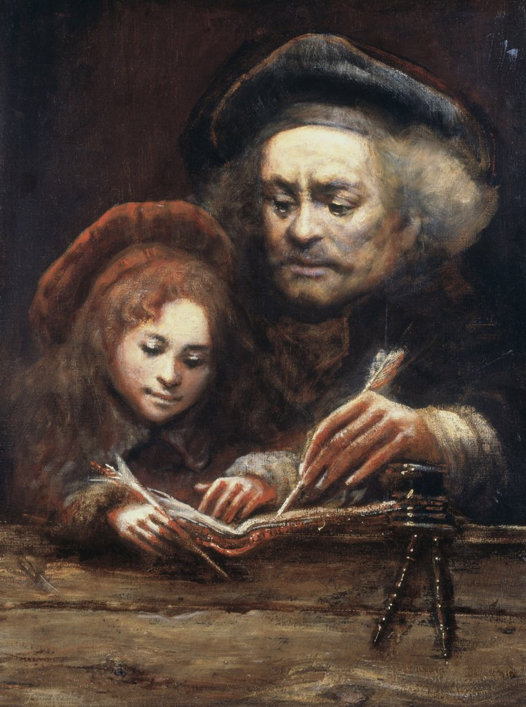 Stock Photo: 475-2180 The Artist As Rembrandt With Titus (In The Manner Of Rembrandt) Tom Keating (1917-1984 British) Bonhams, London, England