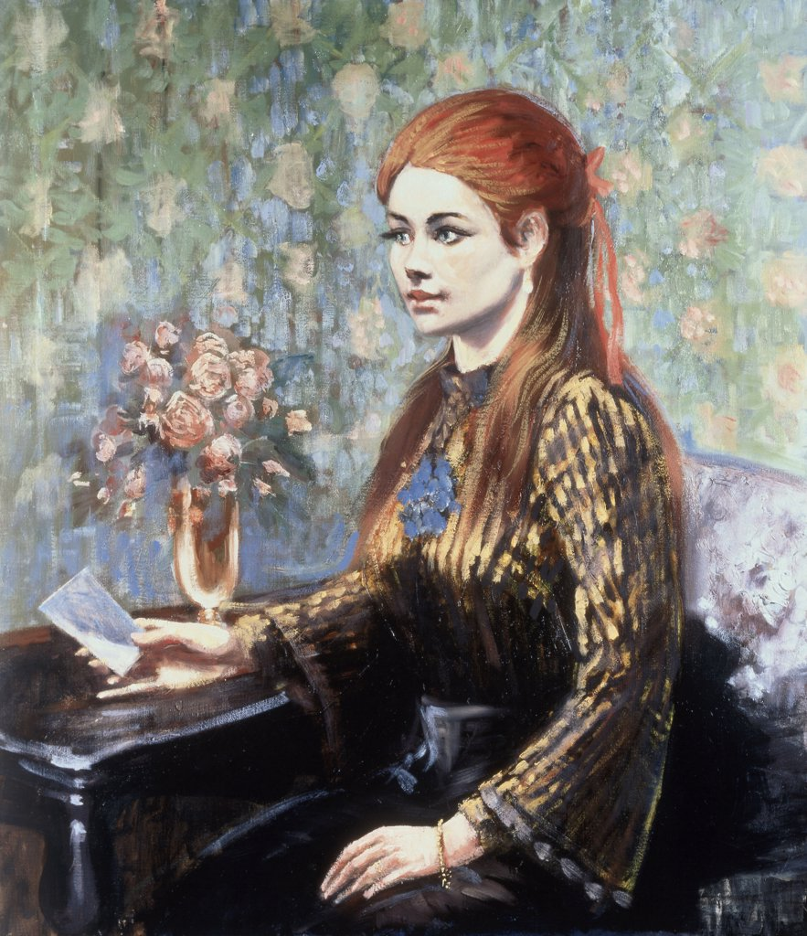 Stock Photo: 475-2181 Red-Haired Girl Sitting At A Table (In The Manner Of Renoir)
