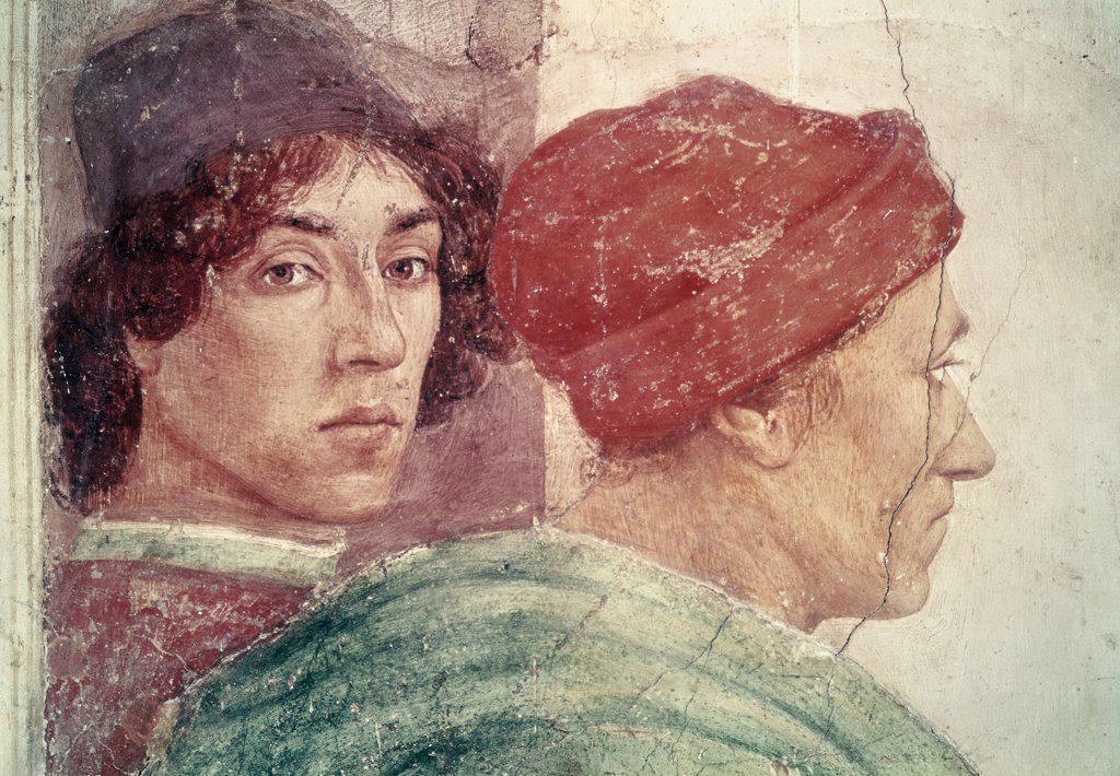 Dispute With Simon Mago (Detail #1) (From The Life Of St. Peter Cycle) 1425-28 Masaccio(1401-1428 Italian) Fresco Cappella Brancacci, Santa Maria del Carmine, Florence, Italy : Stock Photo
