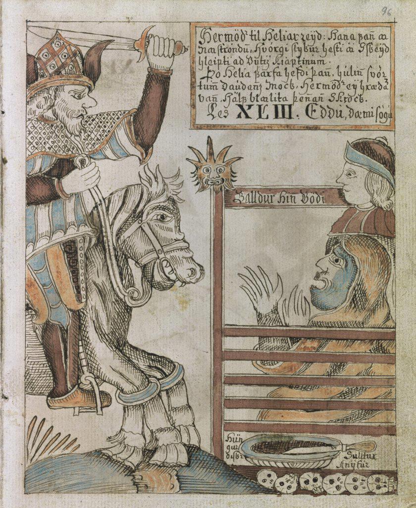 Stock Photo: 475-2214 Hermod: Son of the Norse God Odin Manuscript