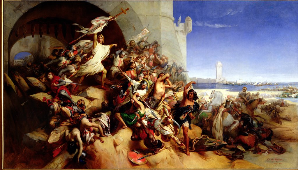 Stock Photo: 475-2312 The Defence of Rhodes by Foulques de Villaret (d.1327) and the Knights of St. John of Jerusalem Against Sultan Osman I (1258-1324) (1310-19) 1848 Gustaf Wappers (1803-1874 Belgian) Oil on Canvas Chateau de Versailles, France