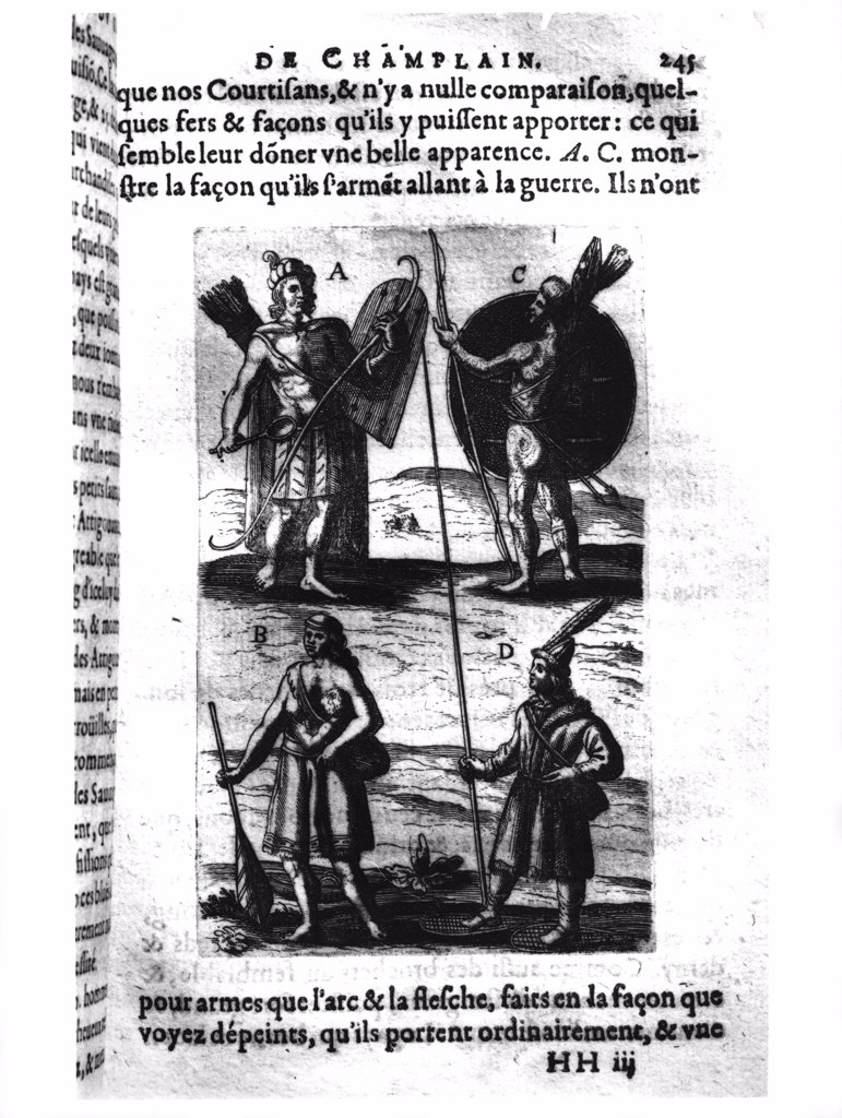 Iroquois of New France From 'Voyages De Sieur Champlain' 17th Century Samuel de Champlain (ca.1567-1635 French) Engraving Bibliotheque Nationale, Paris, France : Stock Photo