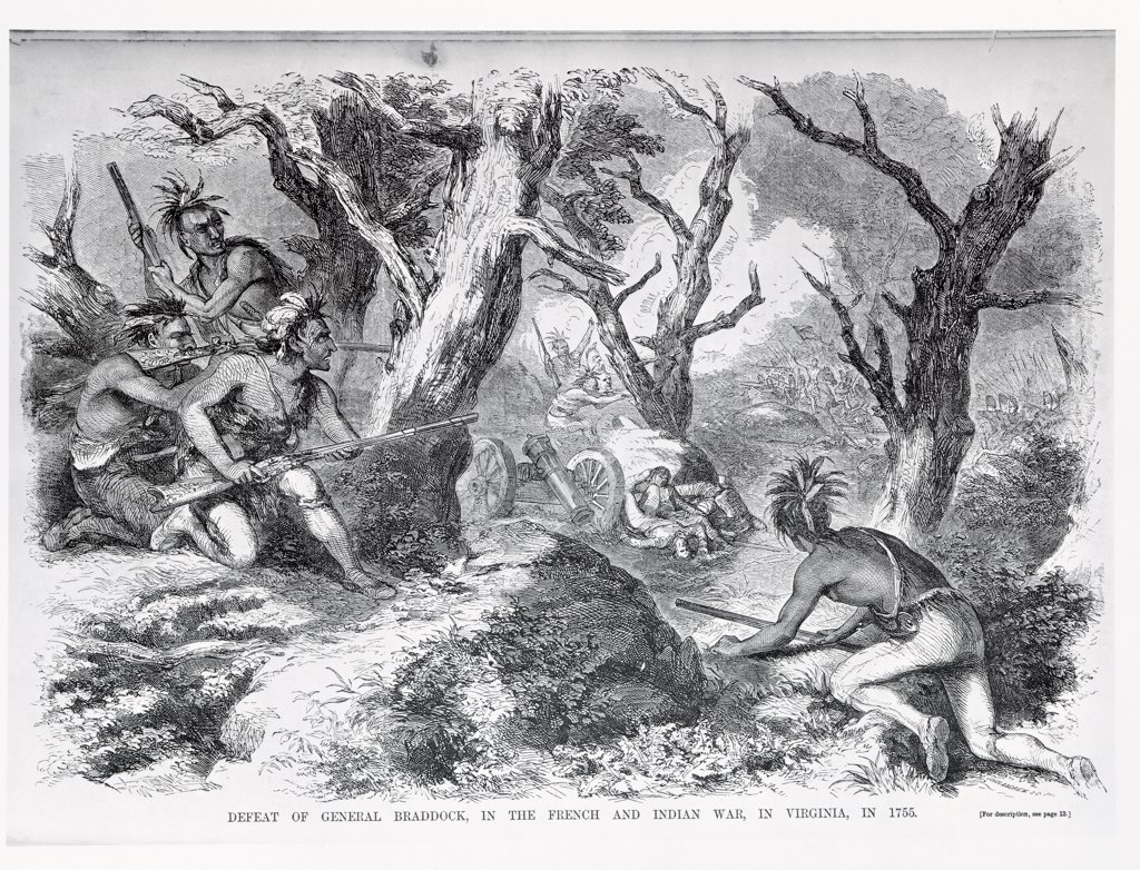 Stock Photo: 475-2328 Defeat of General Braddock, in the French and Indian War, in Virginia, in 1755 From 'Ballou's Pictorial Drawing-Room Companion' 1855 American School Engraving Library of Congress, Washington, D.C., USA