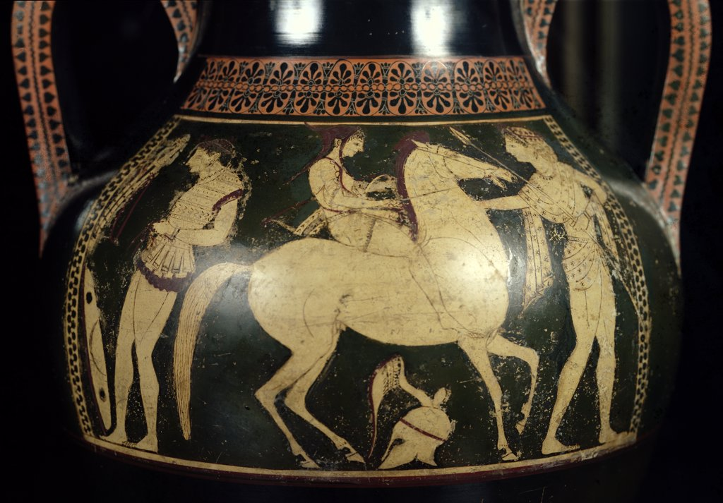 Stock Photo: 475-2353 Attic White-Figure Amphora Depicting Amazons Preparing For Battle