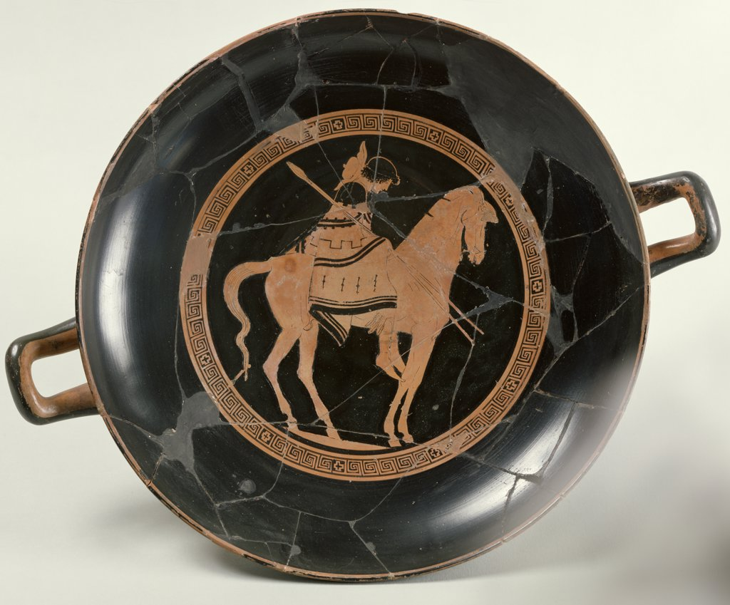 Stock Photo: 475-2354 Attic Red-Figure Cup Depicting a Rider on Horseback