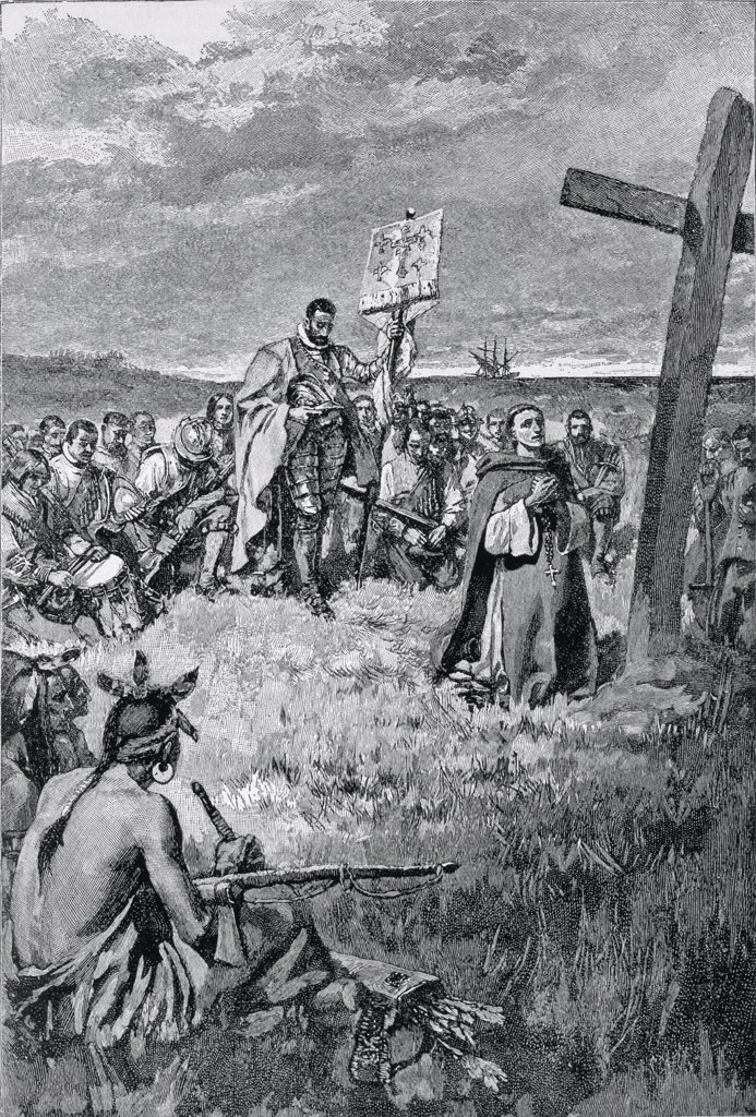 Stock Photo: 475-2402 Jacques Cartier (1491-1557) Setting Up A Cross At Gaspe